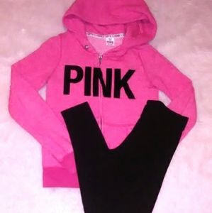 PINK Outfit Sweatshirt Sweatpants S XS